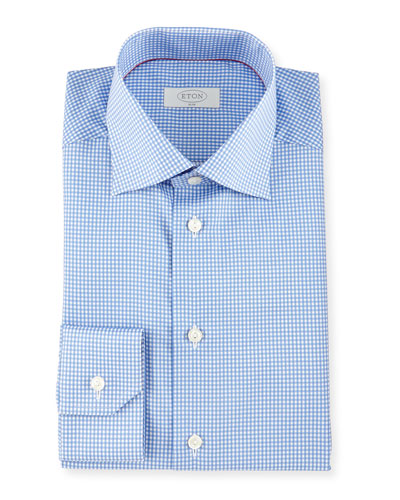 Slim-Fit Gingham-Check Woven Dress Shirt, Blue