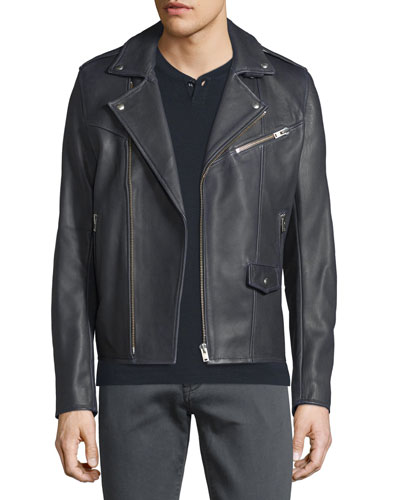 Rolf Washed Leather Moto Jacket, Dark Gray
