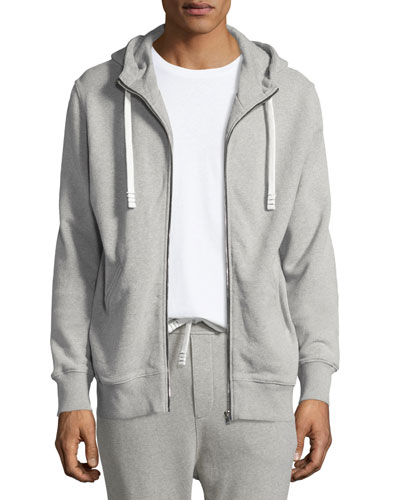 Clevy Zip-Front Knit Hoodie, Gray