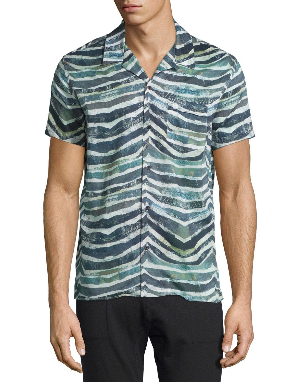 Eluard Zebra-Print Short-Sleeve Shirt, Khaki White