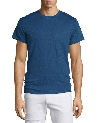 Jaoui Short-Sleeve Linen T-Shirt, Industrial Blue