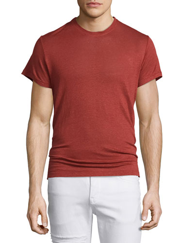 Jaoui Short-Sleeve Linen T-Shirt, Red