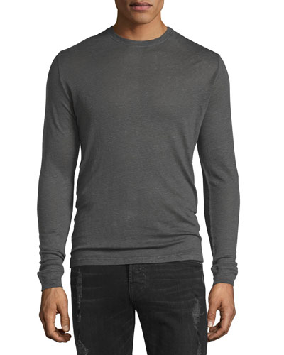 Nafa Long-Sleeve Crewneck Shirt, Dark Gray