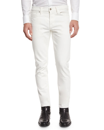 Slim-Fit White Selvedge Denim Jeans, White
