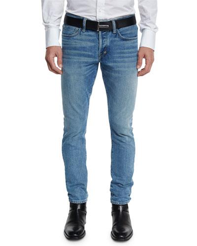 Slim-Fit Punk Pale Denim Jeans, Light Blue