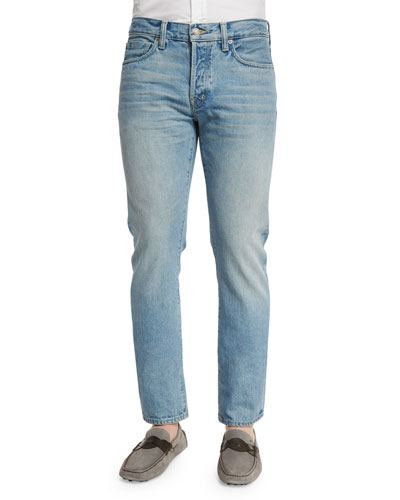 Straight-Fit Light Wash Denim Jeans, Light Blue