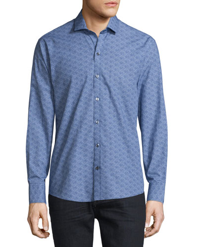 Printed Long-Sleeve Woven Shirt, Navy
