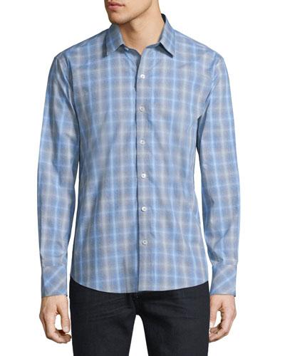 Plaid Long-Sleeve Woven Sport Shirt, Blue