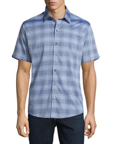Plaid Short-Sleeve Woven Shirt, Gray
