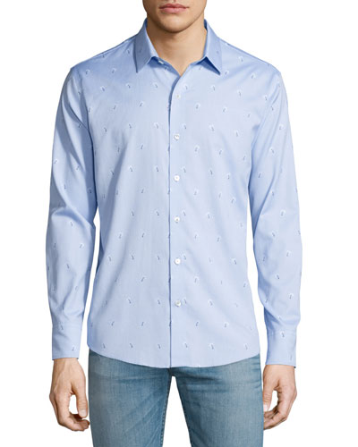 Palm Tree-Print Jacquard Sport Shirt, Light Blue