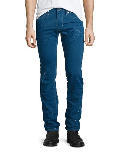 Thavar Distressed Denim Jeans, Blue