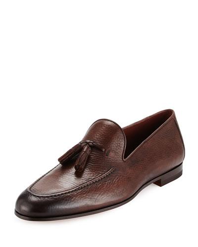 Pebbled Leather Tassel Loafer, Brown