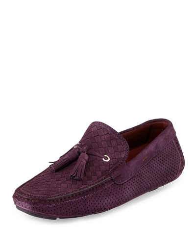 Woven & Perforated Suede Tassel Driver, Purple