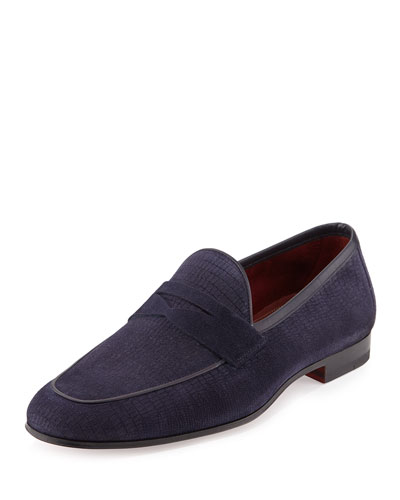 Faux-Lizard Suede Penny Loafer, Navy