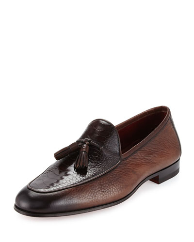 Ostrich/Leather Tassel Loafer, Brown