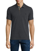 Short-Sleeve Oxford Polo Shirt, Dark Charcoal Melange