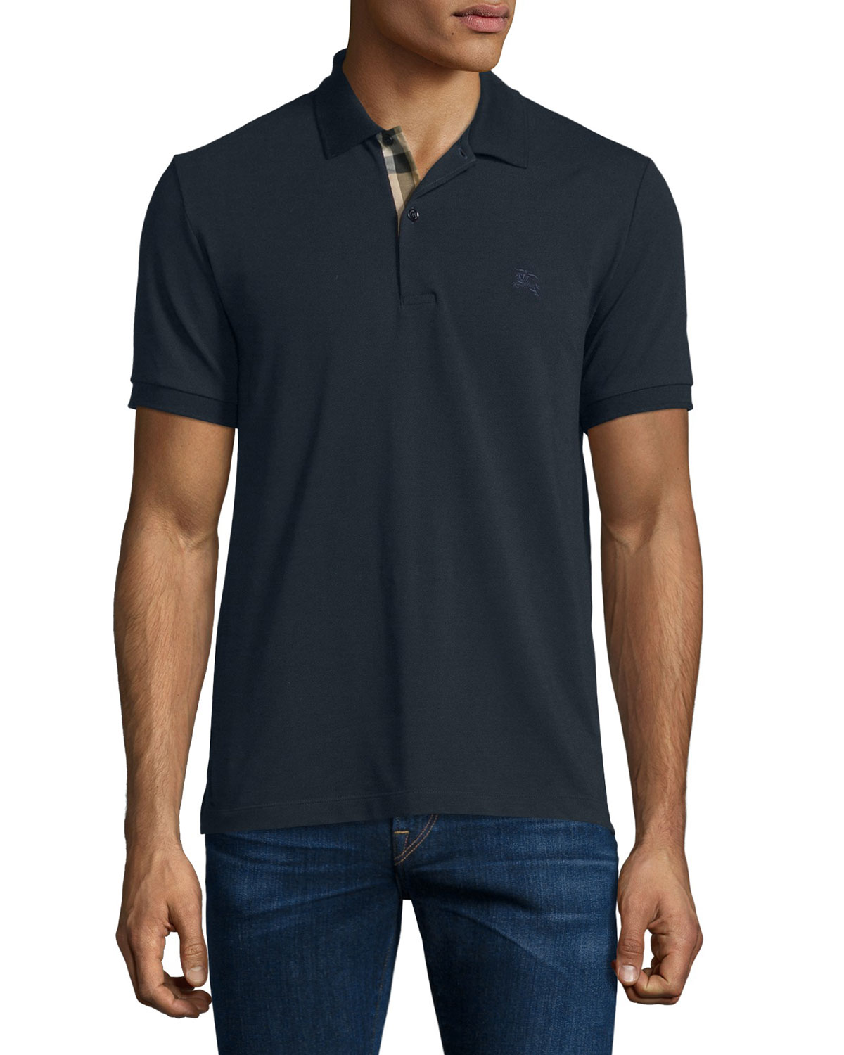 Short-Sleeve Oxford Polo Shirt, Dark Navy