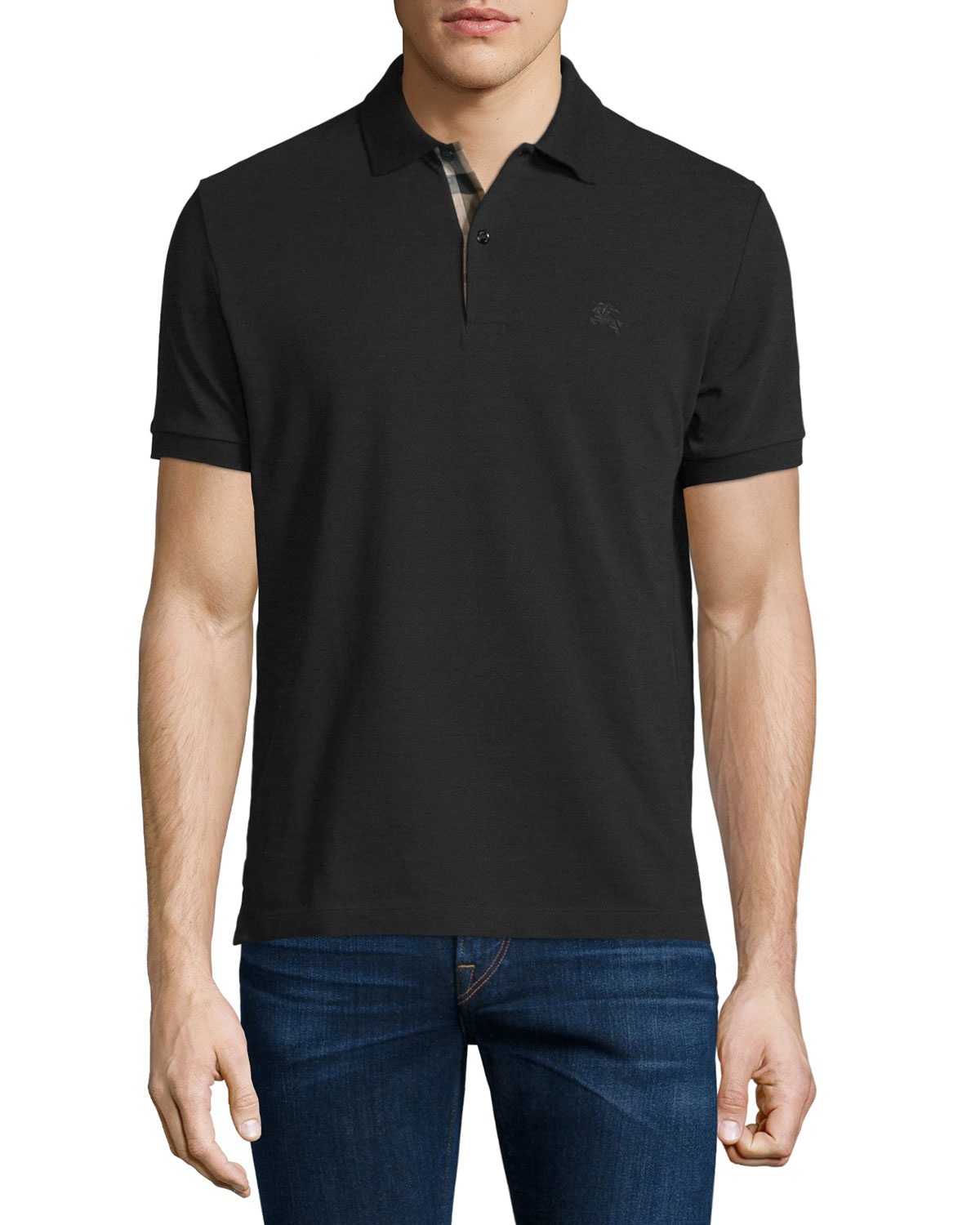 Short-Sleeve Oxford Polo Shirt, Black