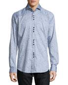 Paisley Jacquard Long-Sleeve Sport Shirt, Gray