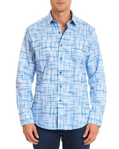 Port Said Printed Long-Sleeve Sport Shirt, Light Blue