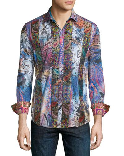 Little Dragon Printed Long-Sleeve Sport Shirt, Multicolor