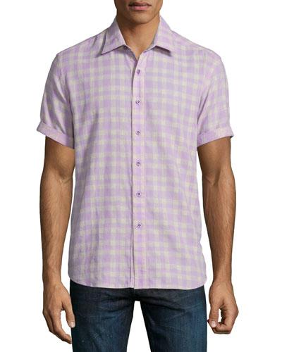 Campground Check Short-Sleeve Shirt, Lilac