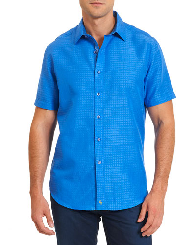 Santa Catalina Printed Short-Sleeve Shirt, Cobalt