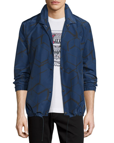 Soren Printed Shirt Jacket, Navy