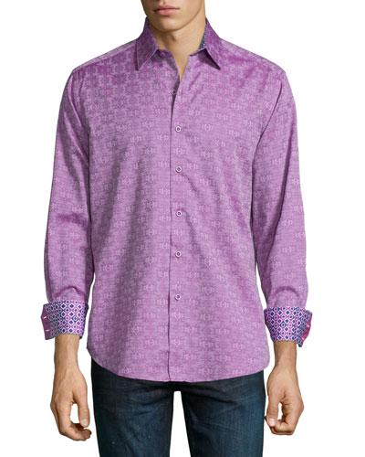 Cullen Tonal-Print Woven Sport Shirt, Magenta