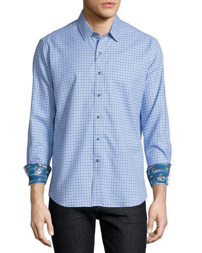 Conor Check Long-Sleeve Sport Shirt, Blue