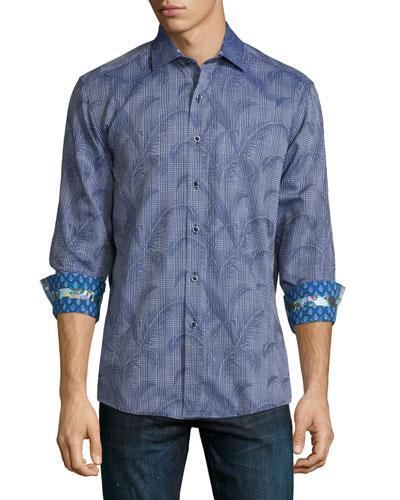 Pinal Peak Printed Woven Sport Shirt, Navy