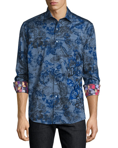 Limited Edition Printed Sport Shirt W/Embroidery, Blue