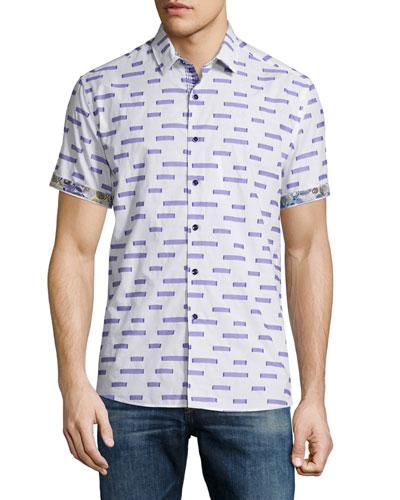 Star Dunes Printed Short-Sleeve Woven Shirt, White Pattern