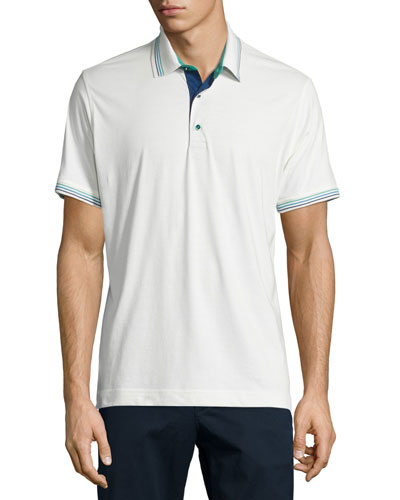 Sea Breeze Striped-Trim Short-Sleeve Polo Shirt, Ivory