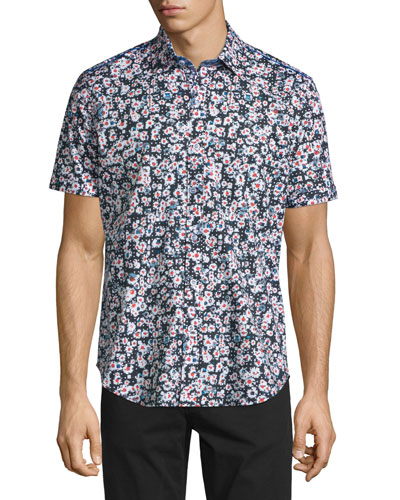 Squared Daisy Printed Short-Sleeve Shirt, Black Pattern