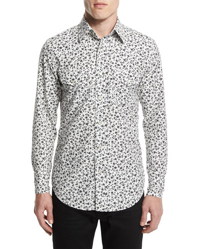 Western-Style Tailored Pansy-Print Sport Shirt, White