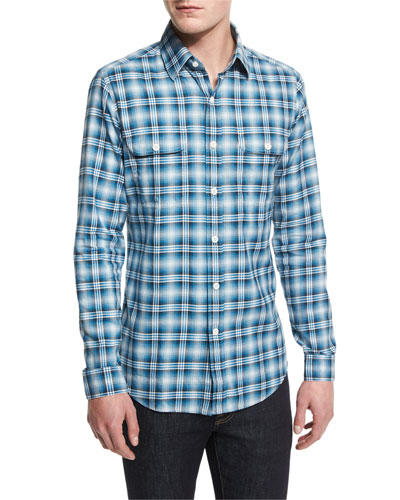 Washed Large-Plaid Twill Sport Shirt, Aqua