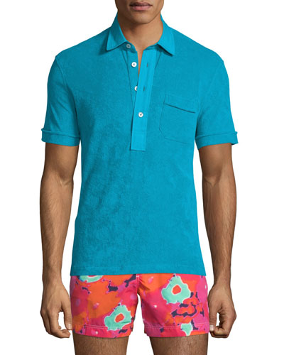 Terry Cloth Short-Sleeve Polo Shirt, Aqua