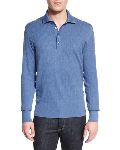 Textured-Rib Long-Sleeve Polo Shirt, Blue