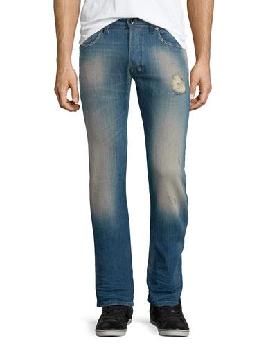 Safado 0854V Distressed Denim Jeans, Medium Blue