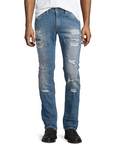 Thavar Destroyed Slim Jeans, Denim