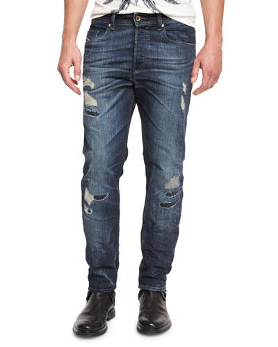 Buster 0854T Distressed Denim Jeans, Dark Blue