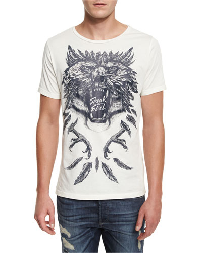 Wolf Graphic T-Shirt, Off White