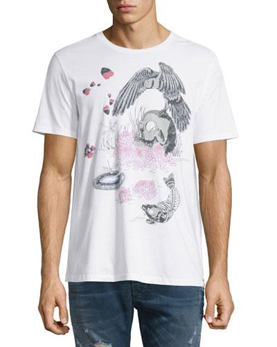 T-Joe Skull-Graphic Short-Sleeve Tee, Black