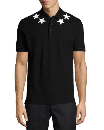 Cuban Star-Print Polo Shirt, Black