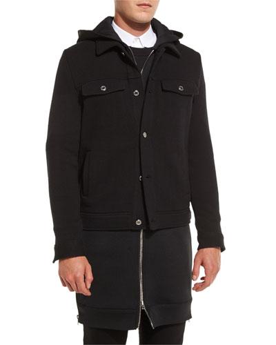 Trompe l'Oeil Hooded Jacket, Black