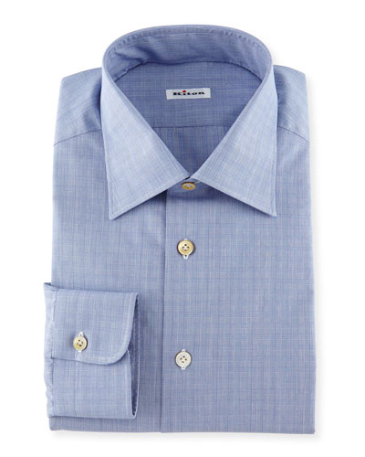 Glen Plaid Woven Dress Shirt, Blue