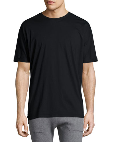 Cuffed-Sleeve Oversized Short-Sleeve Tee, Black