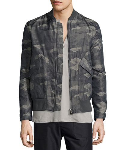 Jacquard Camo-Print Nylon Jacket, Olive Slate Multi