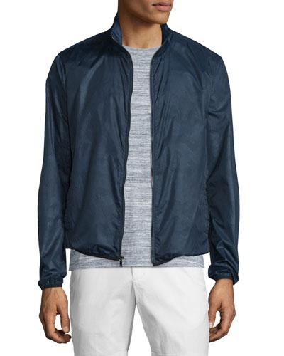 Tonal Camo-Print Zip Nylon Jacket, Midnight